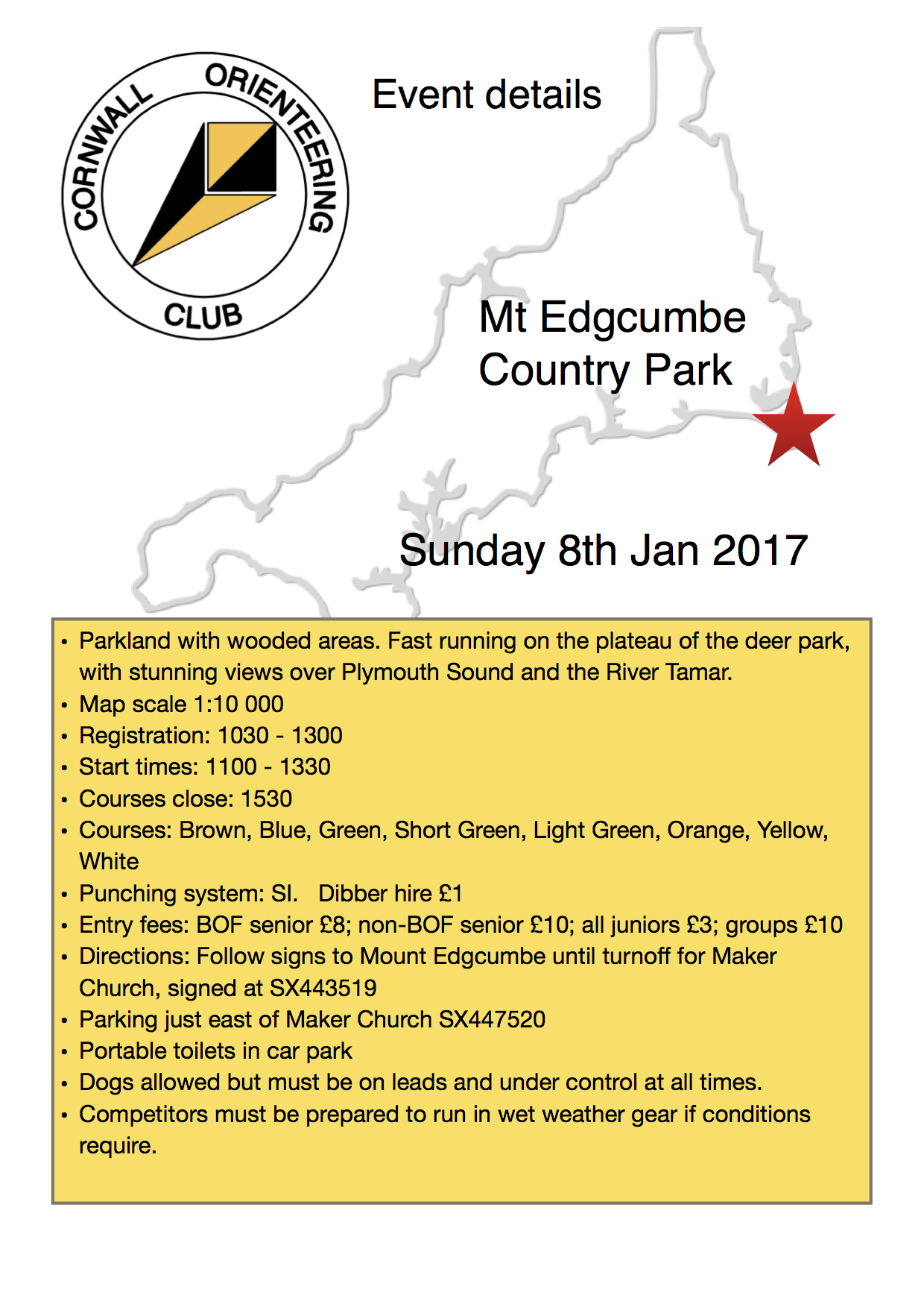 Flyer for Mt Edgcumbe event