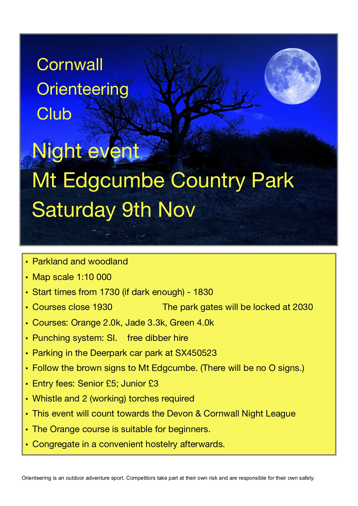 flyer for Mt Edgcumbe night event