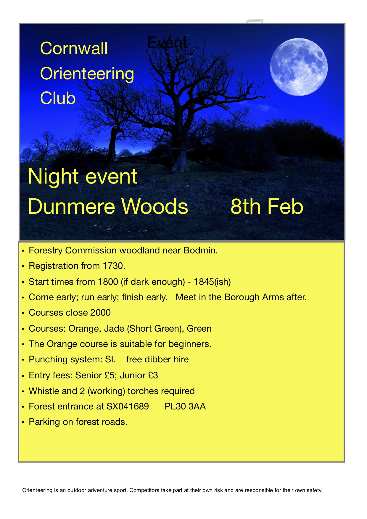 flyer for Dunmere night event