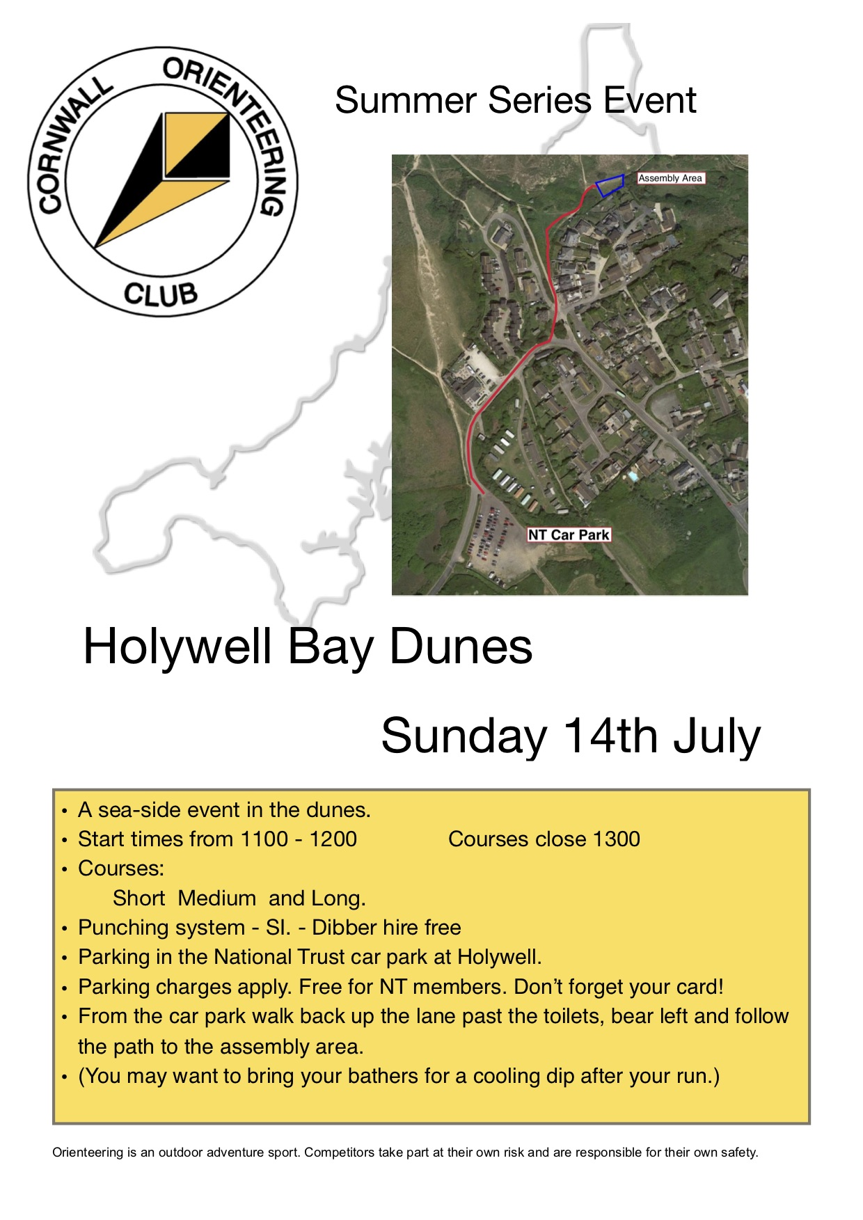 Flyer for Holywell bay event