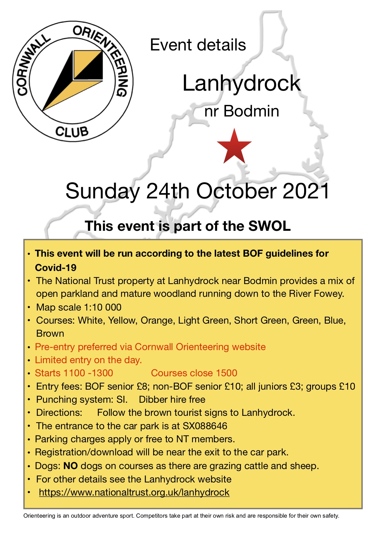 flyer for lanhydrock event