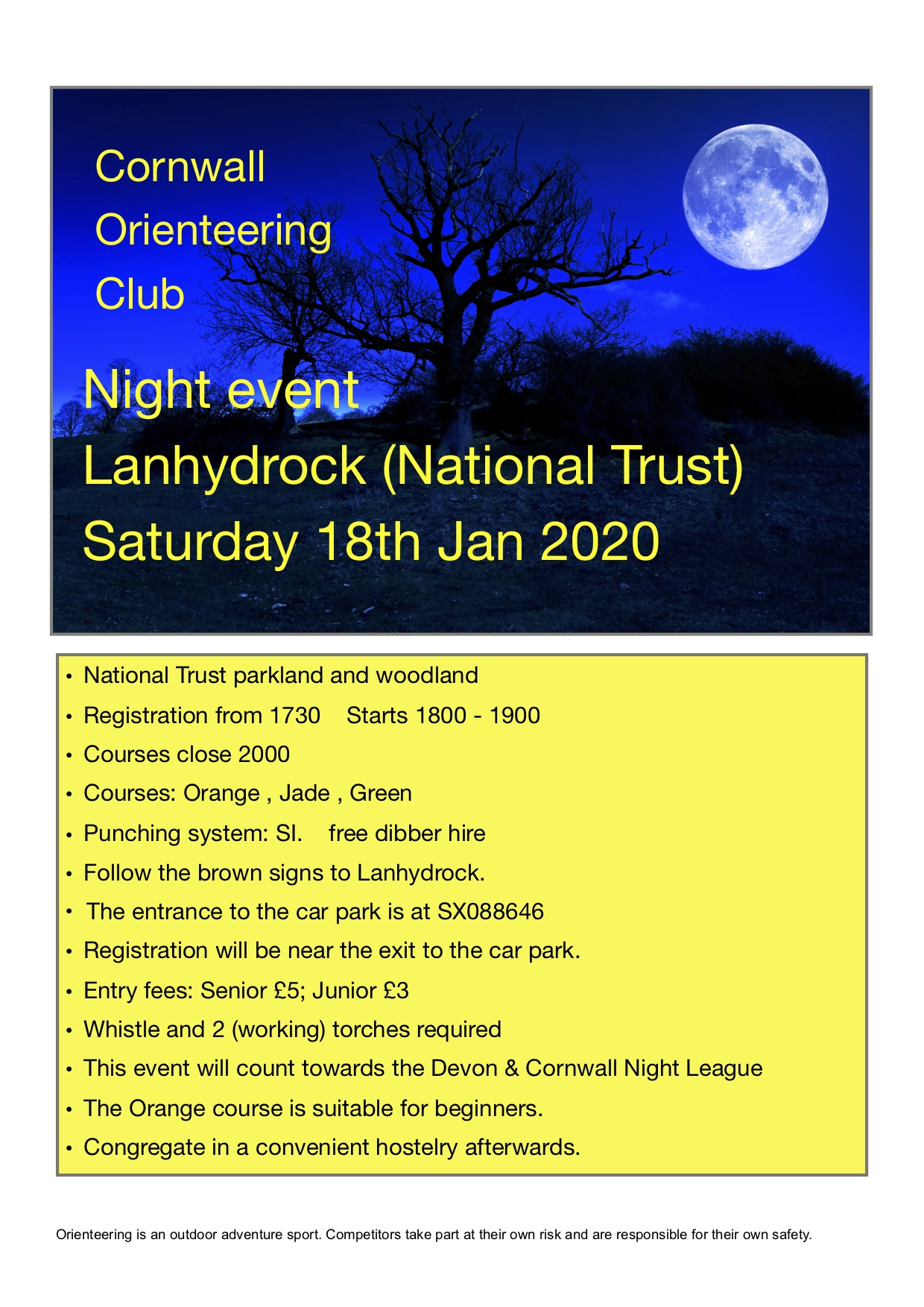 flyer for lanhydrock night event jan 2020