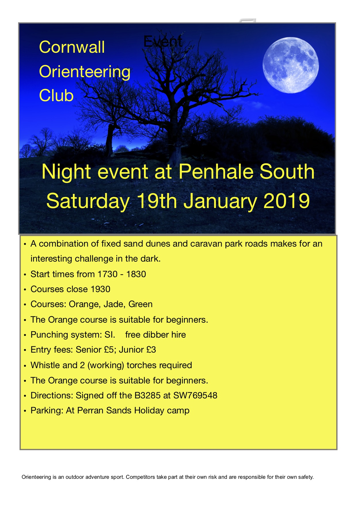 Penhale Night 2019 flyer